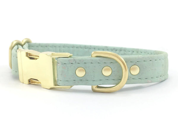 Mint green dog and puppy collar in unique vegan cork leather, made in the UK