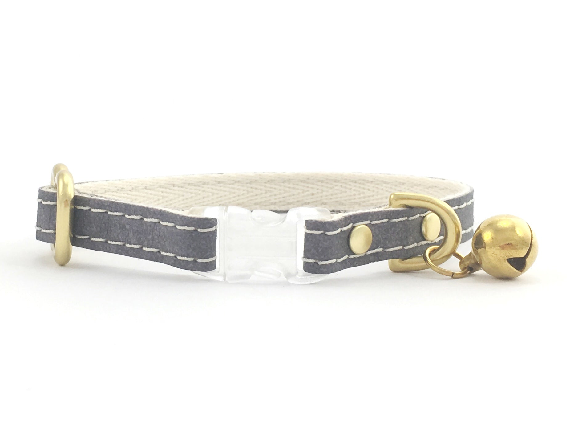 Luxury vegan leather cat collar with breakaway safety buckle and brass bell