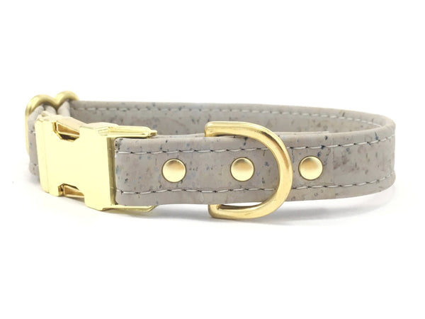 Grey vegan cork leather dog and puppy collar with luxury brass buckle