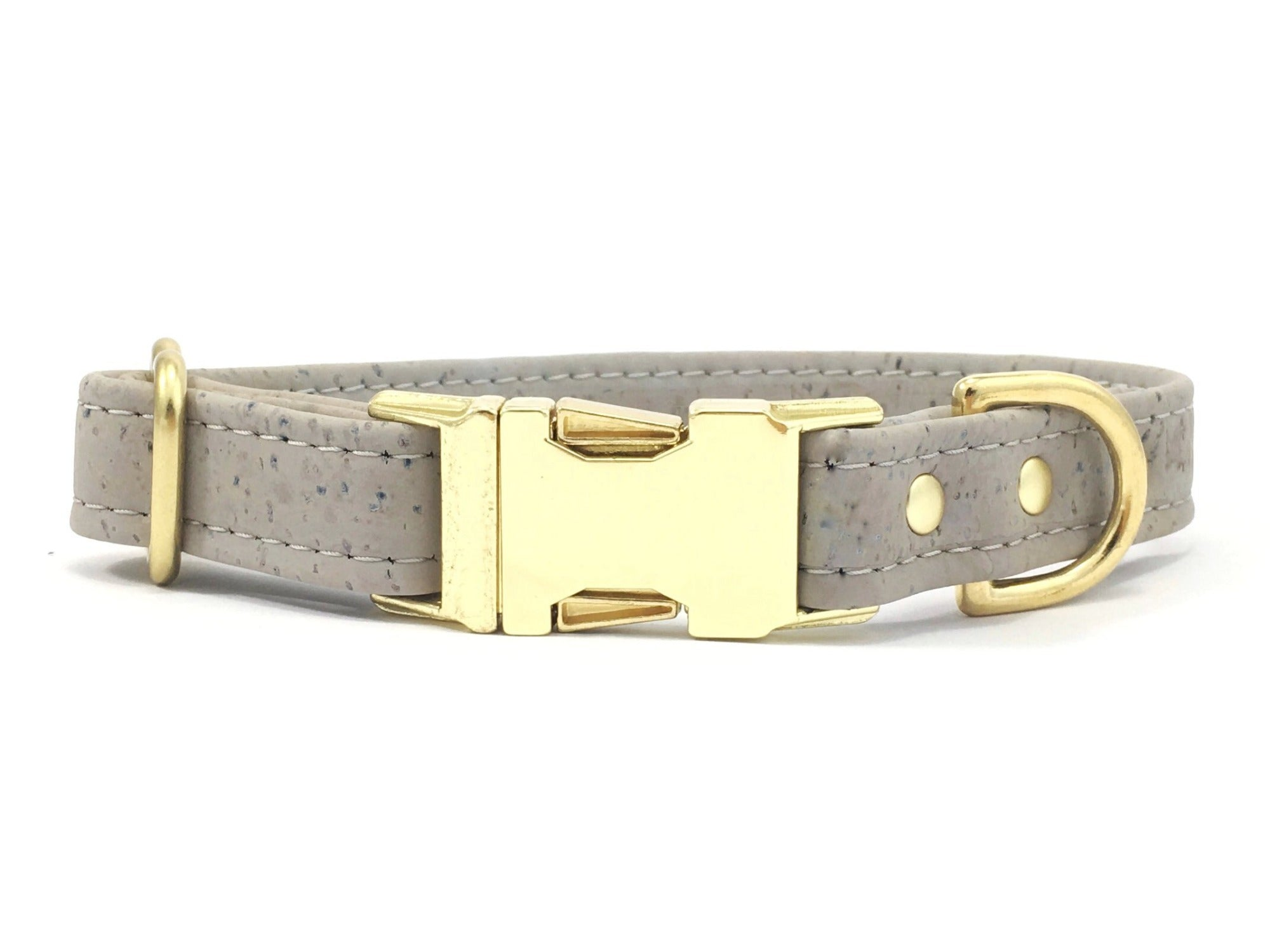 Grey dog collar in vegan cork leather and luxury brass quick release buckle