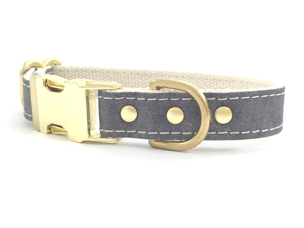 Grey Vegan Leather Dog Collar With Brass Buckle
