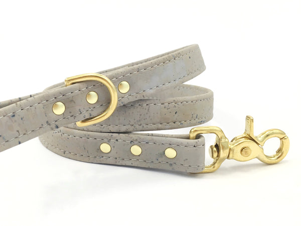Grey Vegan Cork 'Leather' Dog Lead With Solid Brass Trigger Snap Hook