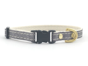 Grey Vegan Leather Miniature Dog Collar With Solid Brass Hardware