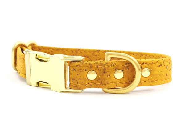Mustard yellow dog or puppy collar in eco friendly vegan cork leather and luxury brass, matching lead available.