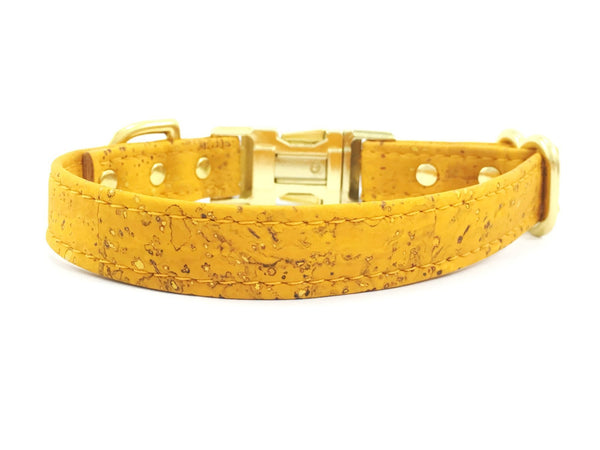 Yellow dog collar in ethical vegan cork leather, available in small to large sizes, made in the UK