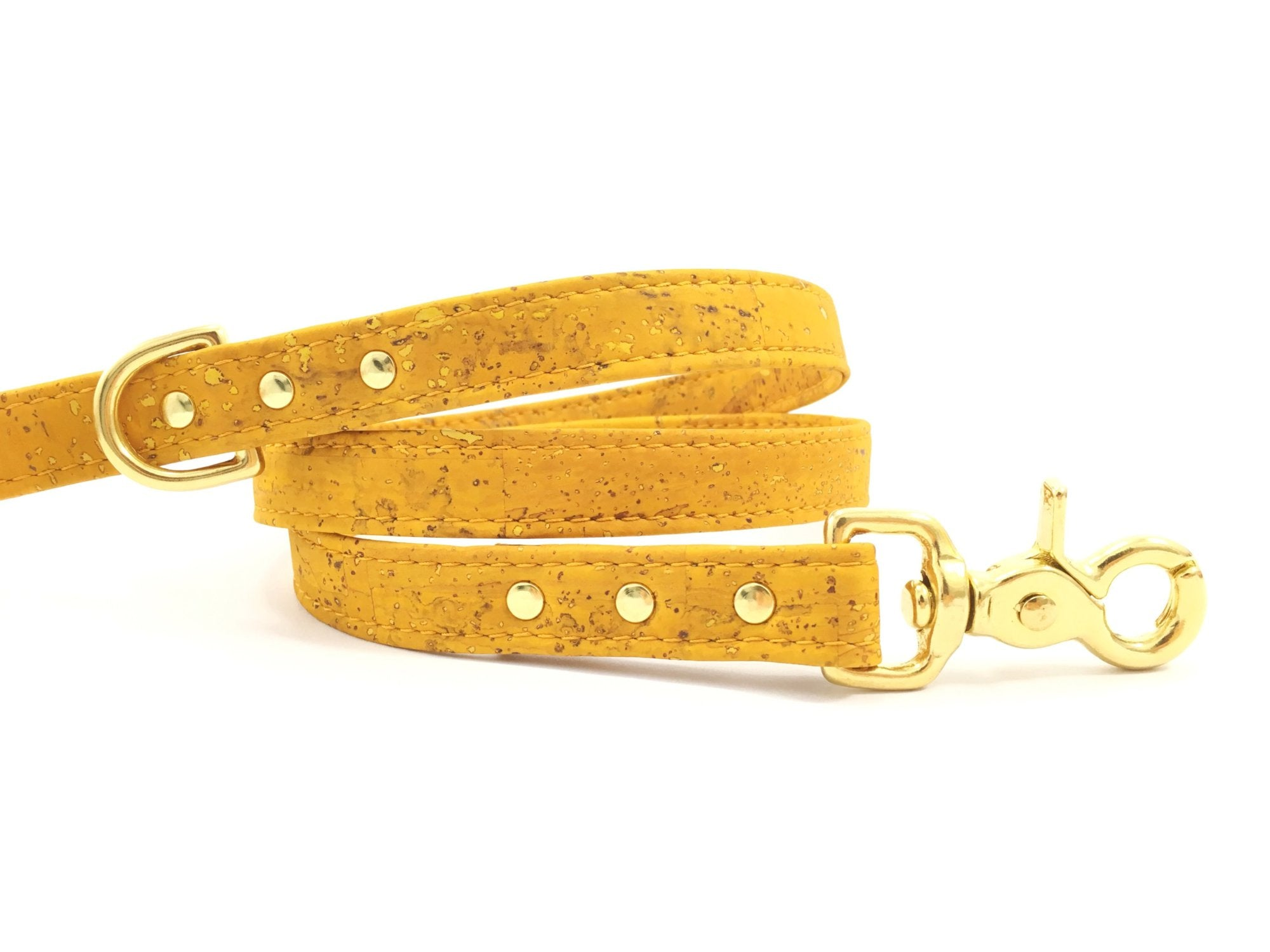 Yellow Vegan Cork 'Leather' Dog Lead With Solid Brass Trigger Snap Hook