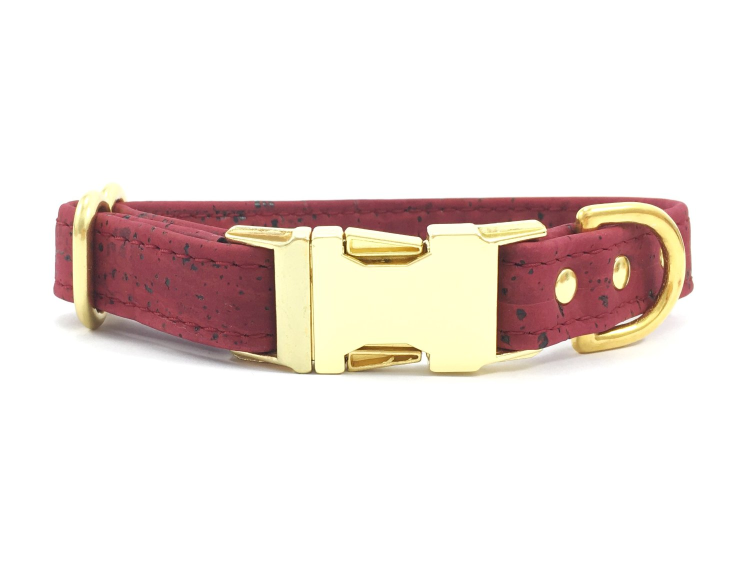 Burgundy vegan cork leather dog collar with brass buckle and solid brass hardware, matching lead available