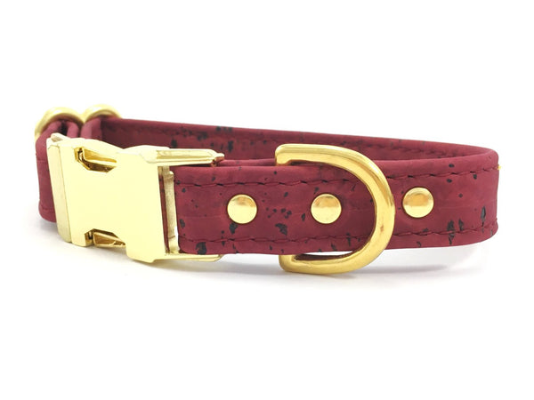 Burgundy vegan leather dog collar made with ethical and sustainable cork 'leather' available in extra small, small, medium and large