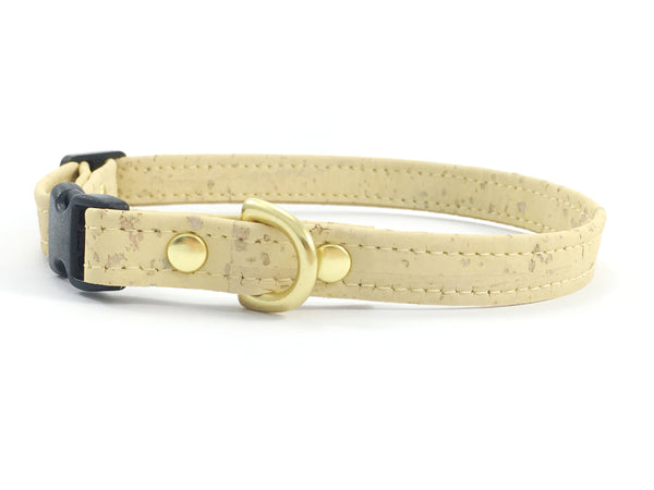 Extra small/miniature dog collar in designer pastel yellow luxury vegan cork 'leather', made in London