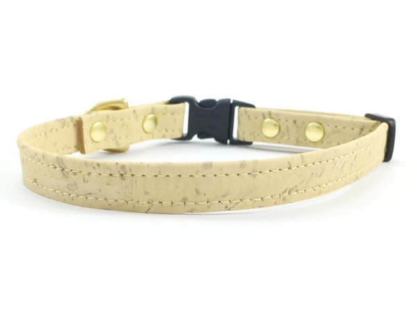 Pastel lemon yellow extra small/miniature/toy dog collar in luxury vegan cork 'leather' with fancy brass hardware