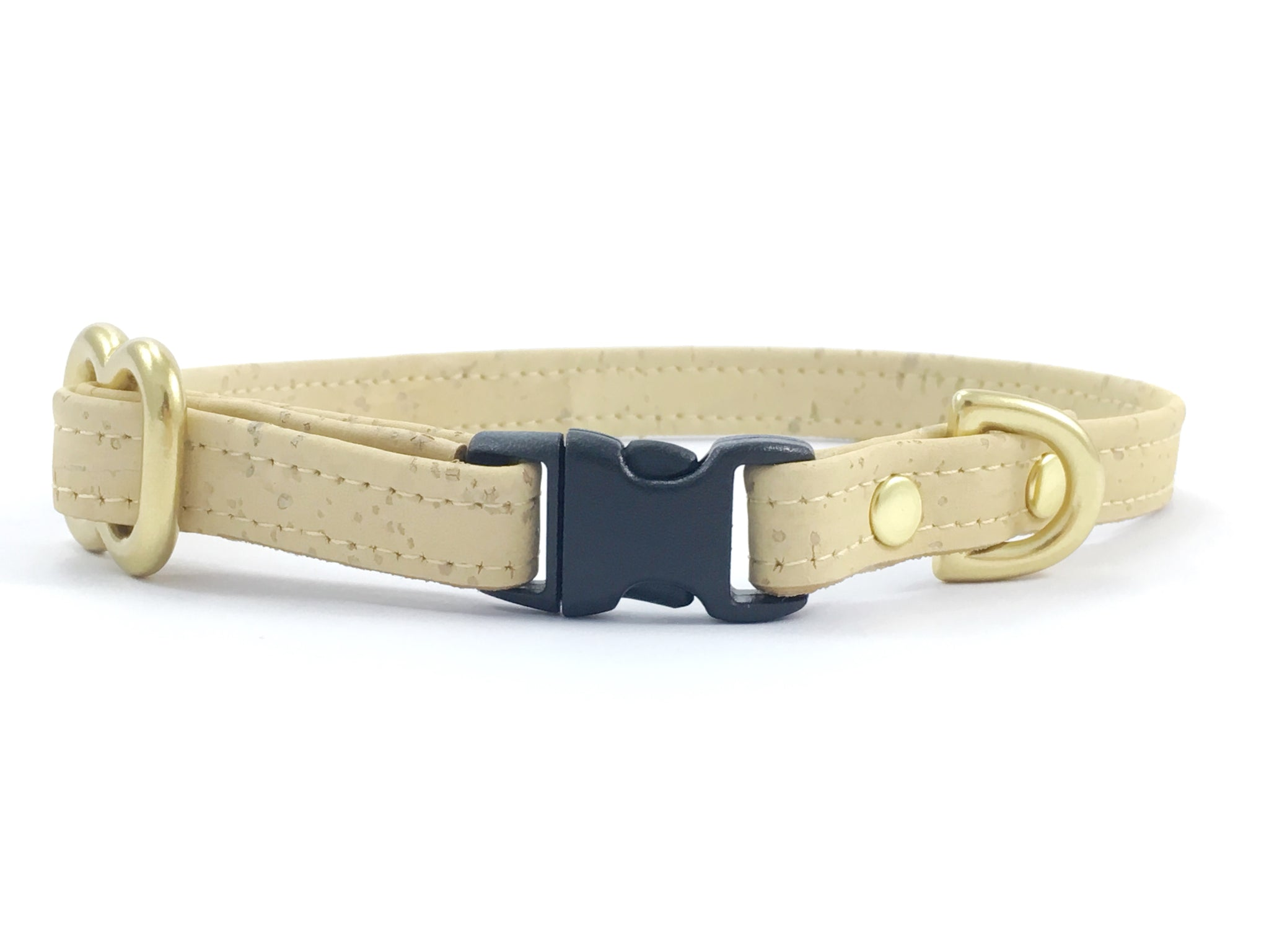 Luxury miniature/toy dog collar in pastel yellow vegan cork leather, suitable for miniature dachshunds, chihuahuas and Maltese