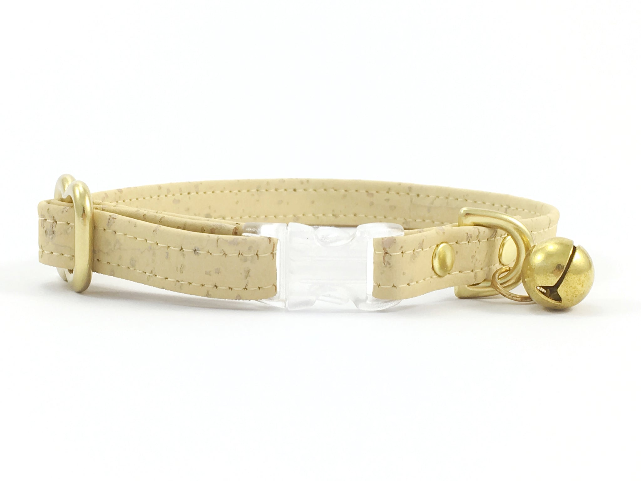 Luxury pastel yellow vegan cork 'leather' breakaway safety cat collar with transparent breakaway buckle and solid brass bell and hardware
