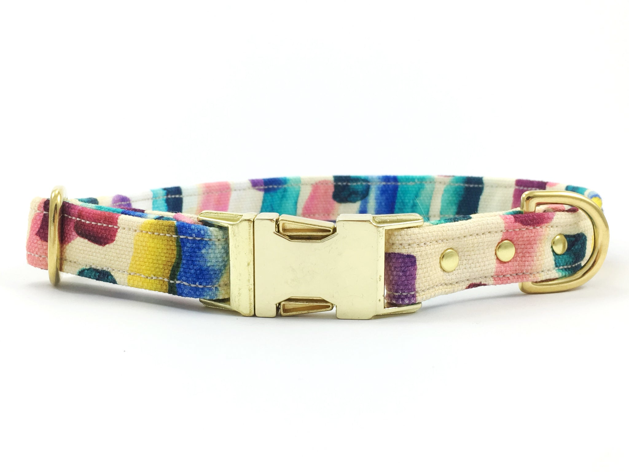 Luxury brightly coloured patterned cotton dog collar with brass buckle and solid brass hardware