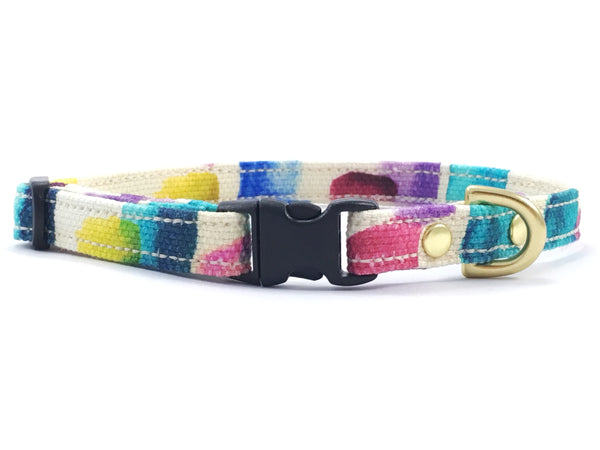 Luxury brightly coloured patterned cotton extra small/miniature dog collar with black buckle and solid brass hardware