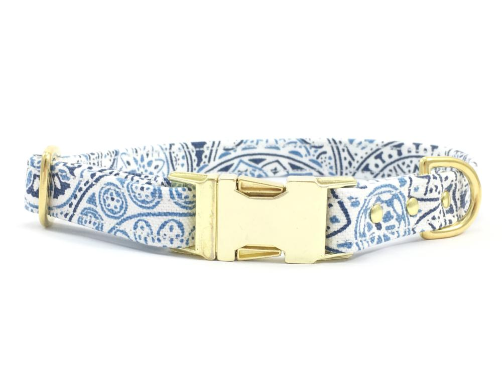 Luxury blue and white cotton patterned dog collar with brass buckle and solid brass hardware available in extra small, small, medium and large