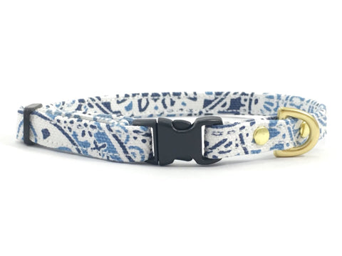 Luxury blue and white patterned cotton miniature/toy dog collar with black buckle and slider and solid brass hardware