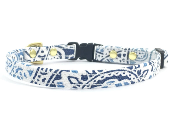 Blue and white luxury cotton miniature/toy dog collar with black buckle and slider and solid brass hardware, by Noggins & Binkles