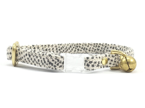 Luxury grey polka dot cotton breakaway safety cat collar with transparent buckle and solid brass bell and hardware