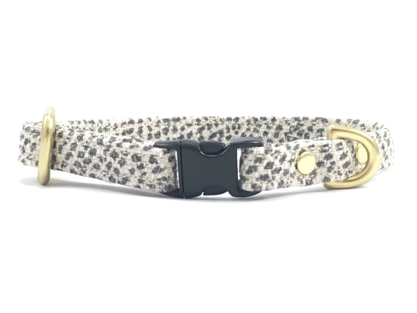 Grey Polka Dot Miniature Dog Collar With Solid Brass Hardware