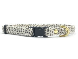 Miniature/toy dog collar in luxury grey polka dot cotton/linen with black buckle and slider and solid brass hardware