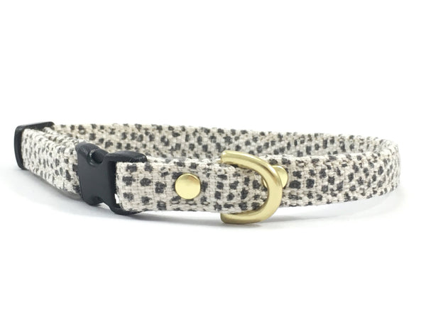 Luxury grey polka dot miniature/little dog collar, made in London by Noggins & Binkles