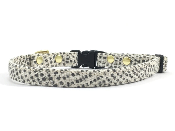 Grey polka dot miniature/extra small dog collar with black buckle and slider and solid brass hardware, by Noggins & Binkles