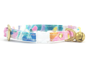 Luxury designer breakaway safety cat collar in pink flower print cotton fabric with breakaway buckle & solid brass bell
