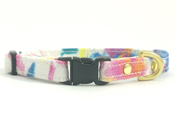 Floral Pink Miniature Dog Collar With Solid Brass Hardware