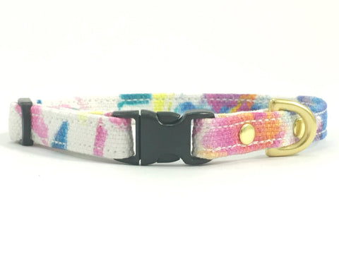 Toy dog collar in pink flower print suitable for very small dogs, made from cotton and solid brass hardware
