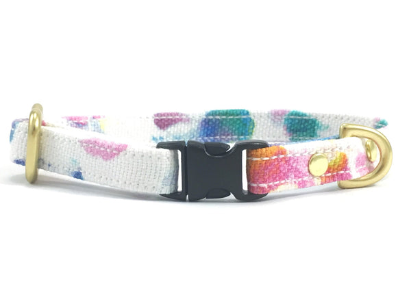 Miniature dog collar in pink flower print pattern made from cotton and solid brass hardware, suitable for miniature dachshunds, chihuahuas and Maltese