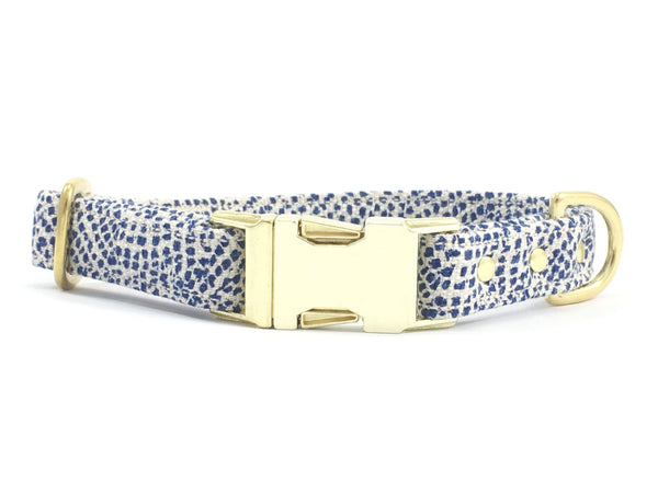 Luxury blue polka dot cotton/linen fabric dog collar with brass buckle & solid brass hardware, by Noggins & Binkles