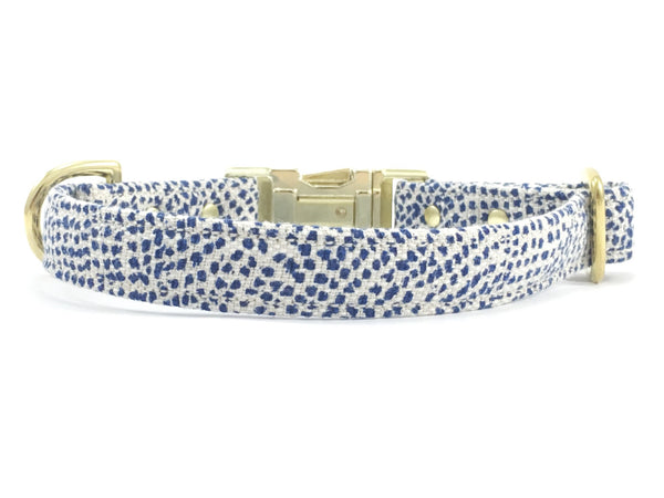 Dog collar in luxury blue polka dot fabric available in extra small, small, medium and large with matching lead available.