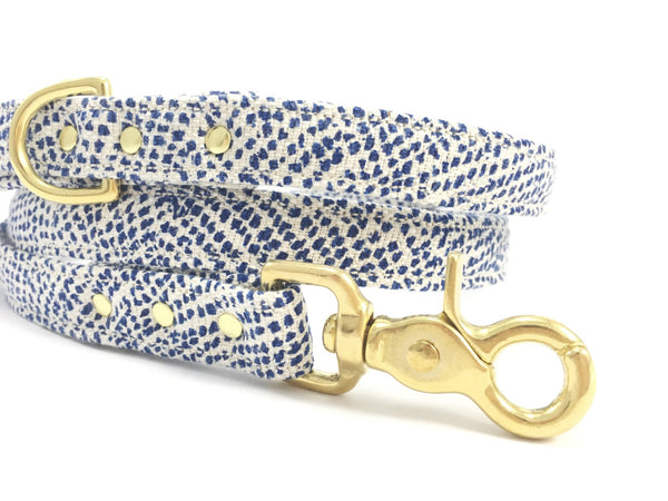 Luxury blue polka dot cotton/linen fabric dog lead/leash with solid brass trigger snap hook, by Noggins & Binkles