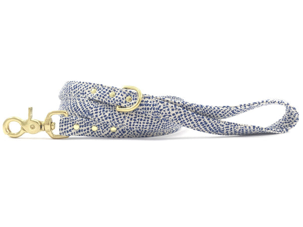 Blue polka dot dog lead/leash with solid brass hardware and matching collar available, made in the UK by Noggins & Binkles