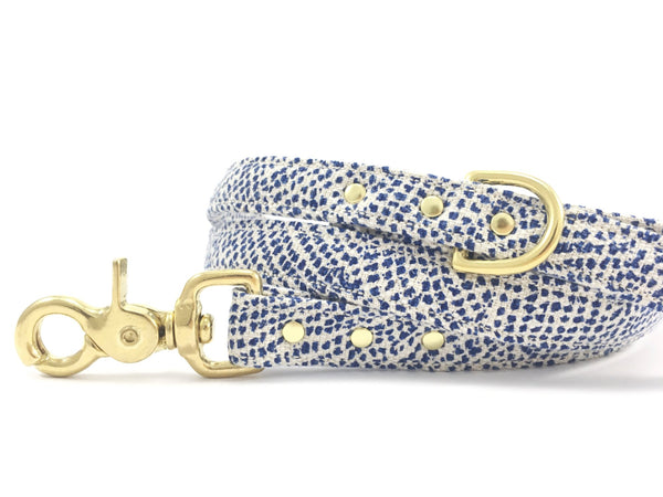 Dog lead/leash in luxury blue polka dot cotton/linen with solid brass trigger snap hook, rivets and d ring, by Noggins & Binkles