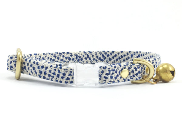 Luxury blue polka dot linen & cotton fabric breakaway safety cat collar with solid brass bell, by Noggins & Binkles