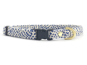 Luxury blue polka dot linen & cotton fabric miniature/toy dog collar with black buckle & solid brass hardware, made in London by Noggins & Binkles