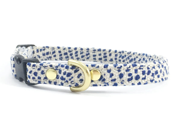 Stylish miniature/toy tiny dog collar in luxury blue polka dot linen/cotton fabric suitable for boy dogs who like to wear blue, by Noggins & Binkles
