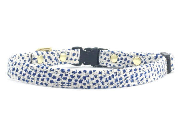 Designer blue polka dot miniature/toy dog collar in stylish cotton/linen fabric suitable for very small dogs such as Maltese, Chihuahuas and Miniature Dachshunds