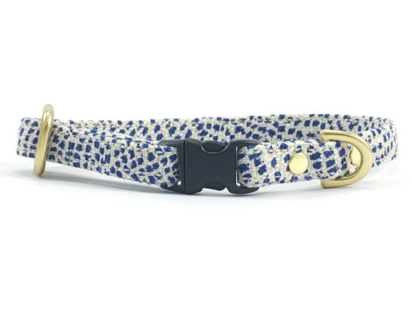 Designer miniature/toy dog collar in luxury blue polka dot linen and cotton fabric with solid brass hardware, suitable for miniature dachshunds, maltese and chihuahuas