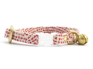 Luxury red polka dot linen and cotton breakaway safety cat collar with solid brass bell