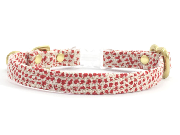 Designer breakaway safety cat collar in luxury cotton and linen fabric with buckle and solid brass gold hardware and bell