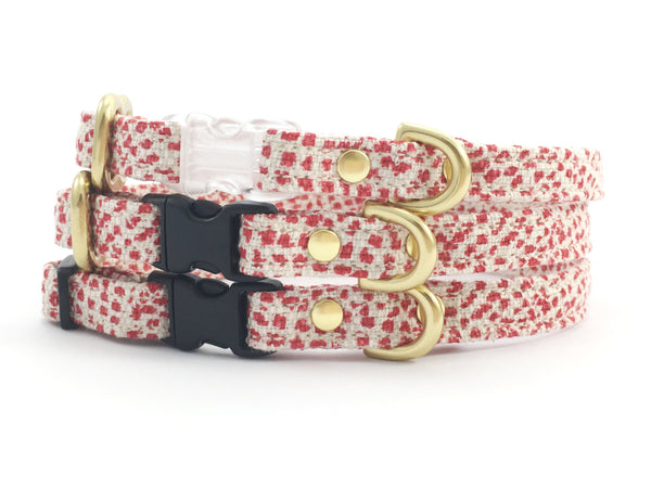 Christmas miniature dog collar in luxury red polka dot linen and cotton fabric with choice of black or transparent buckle and solid brass gold hardware