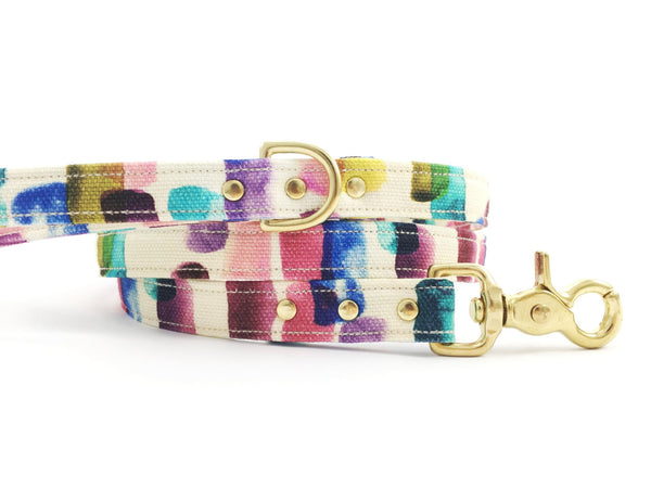 Cool dog lead in funky cotton multicoloured printed fabric with solid brass trigger snap hook and matching collar available