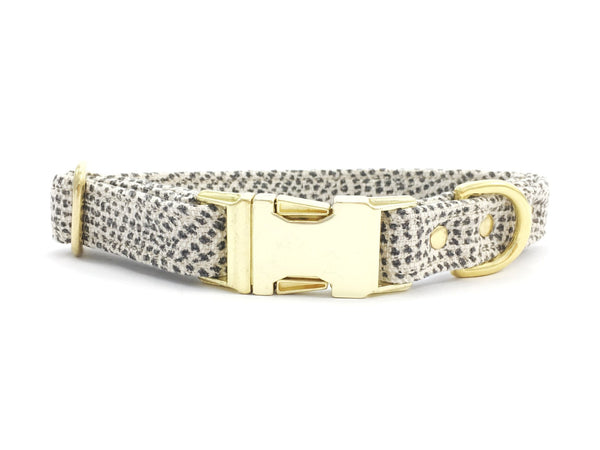 Luxury grey polka dot cotton fabric dog collar with brass buckle & solid brass hardware, made in London in the UK