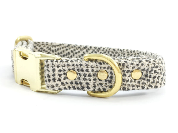 Dog collar in luxury grey polka dot linen/cotton fabric with brass buckle, by Noggins & Binkles