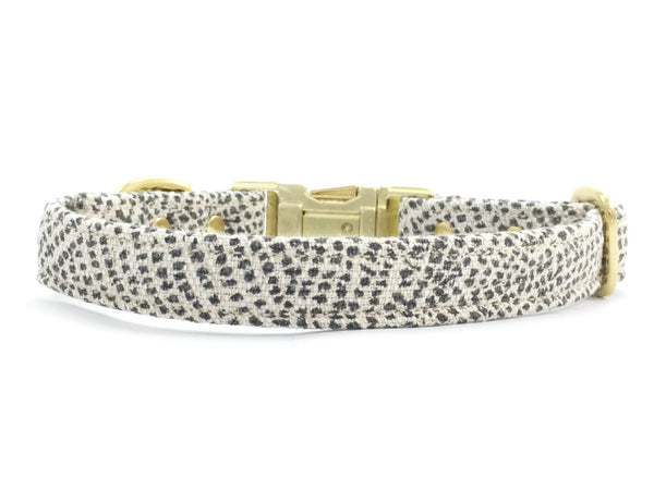 Grey polka dot dog collar by Noggins & Binkles with brass buckle available in extra small, small, medium and large