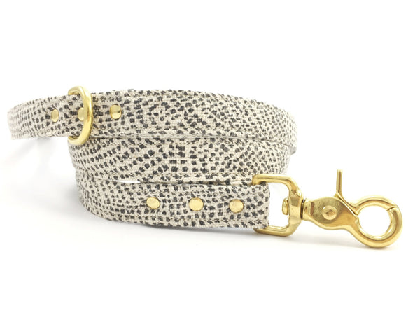 Luxury grey polka dot cotton lead/leash with solid brass trigger snap hook by Noggins & Binkles
