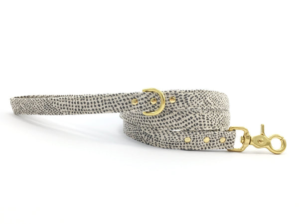 Dog lead/leash in luxury grey polka dot cotton/linen fabric with matching collar available, made in London