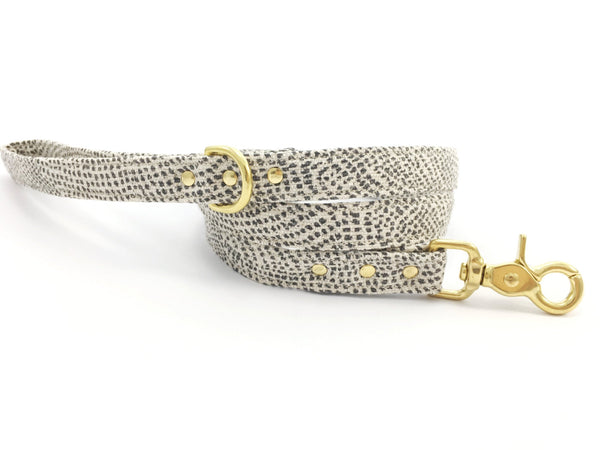 Grey polka dot dog lead/leash with luxury solid brass trigger snap hook, by Noggins & Binkles